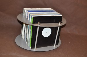 Stand Case Table Record Box 85-100 EXIMIUS varnished in silver color