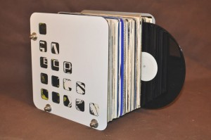 Stand Case Record Box 85-100 EXIMIUS varnished white/silver Techno